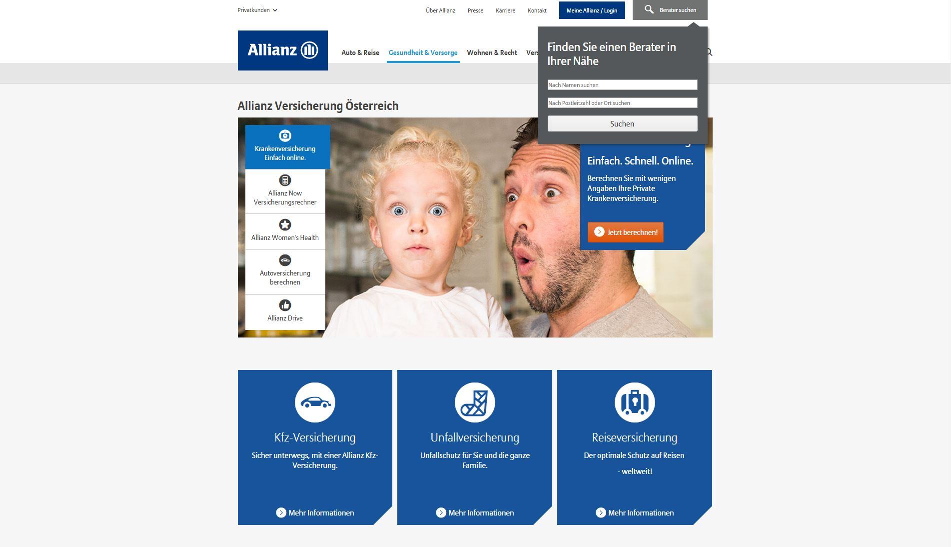 Screenshot der Website der Allianz Versicherung