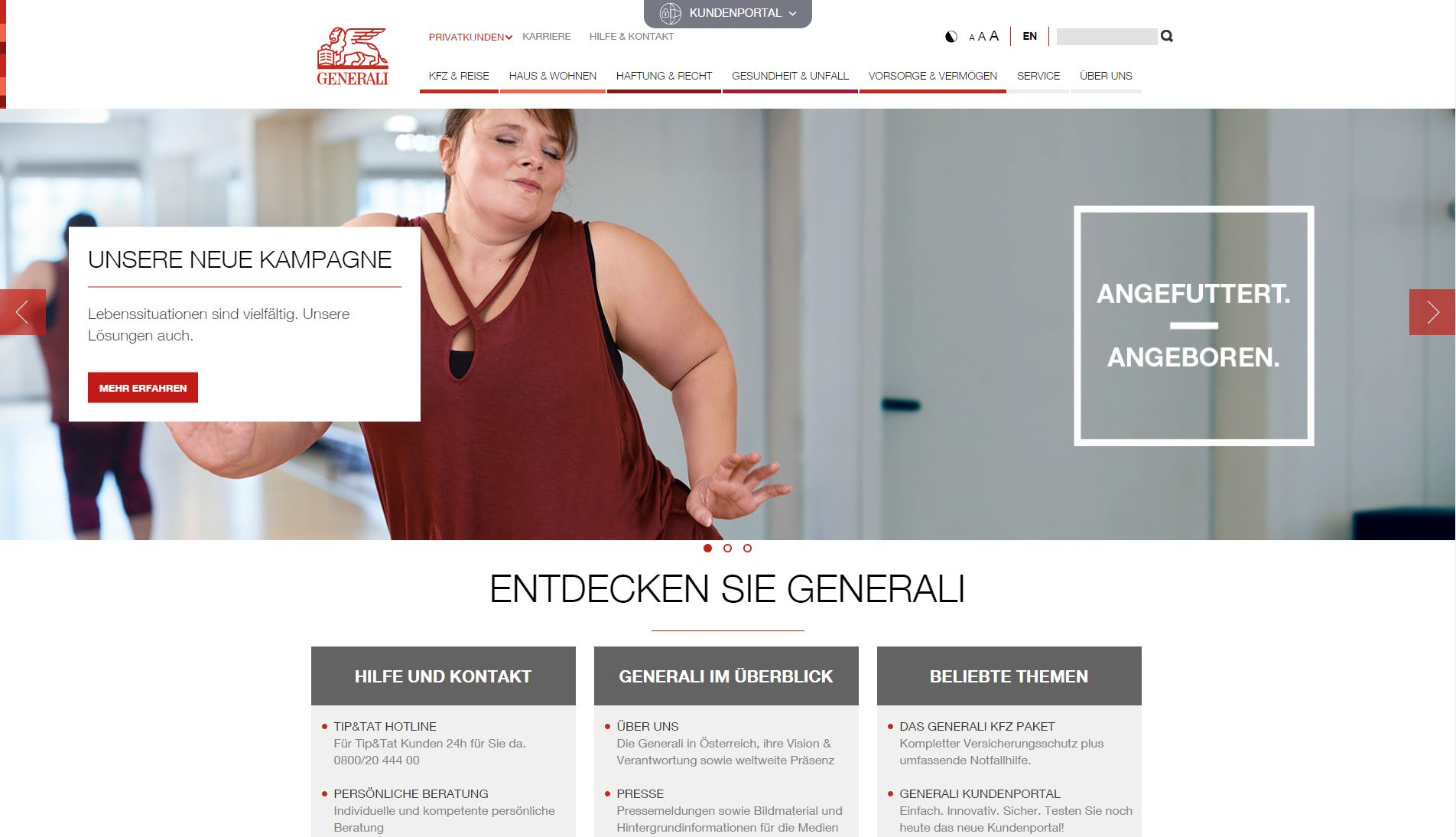 Screenshot der WEbsite der Generali Versicherung