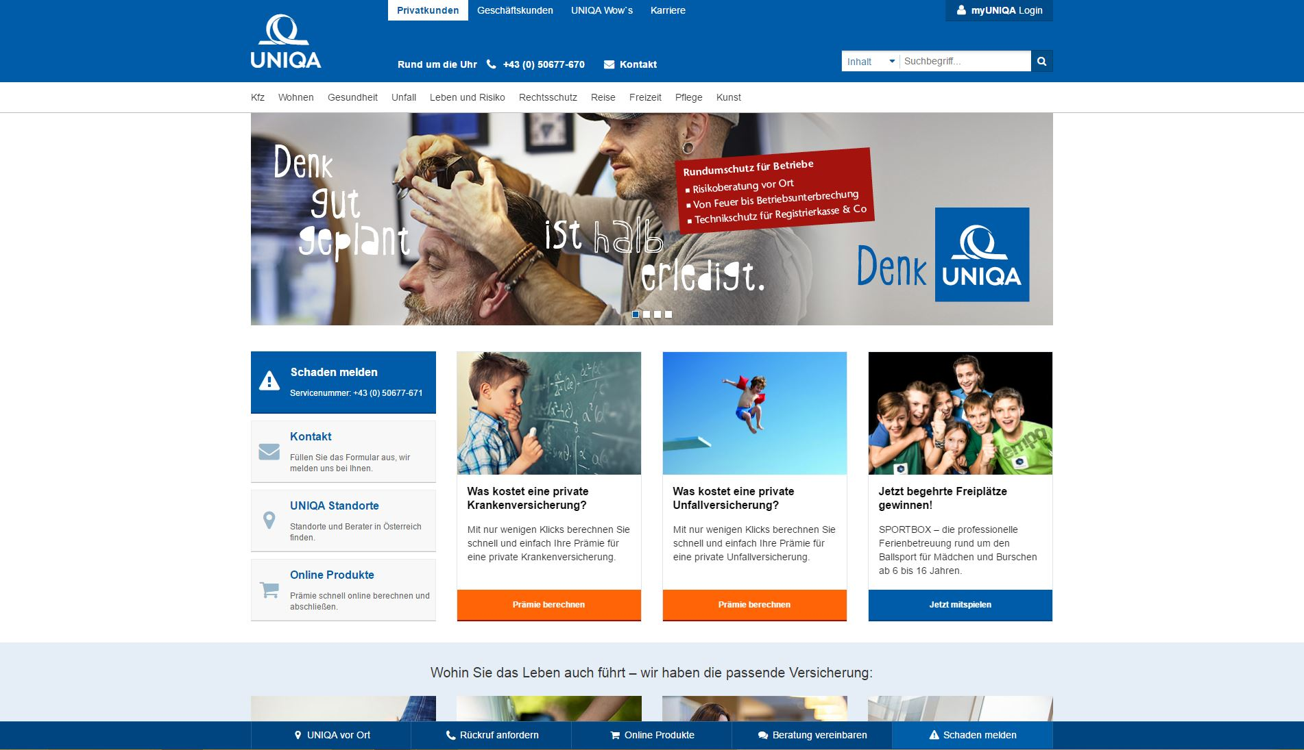 Screenshot der Website der UNIQA Versicherung