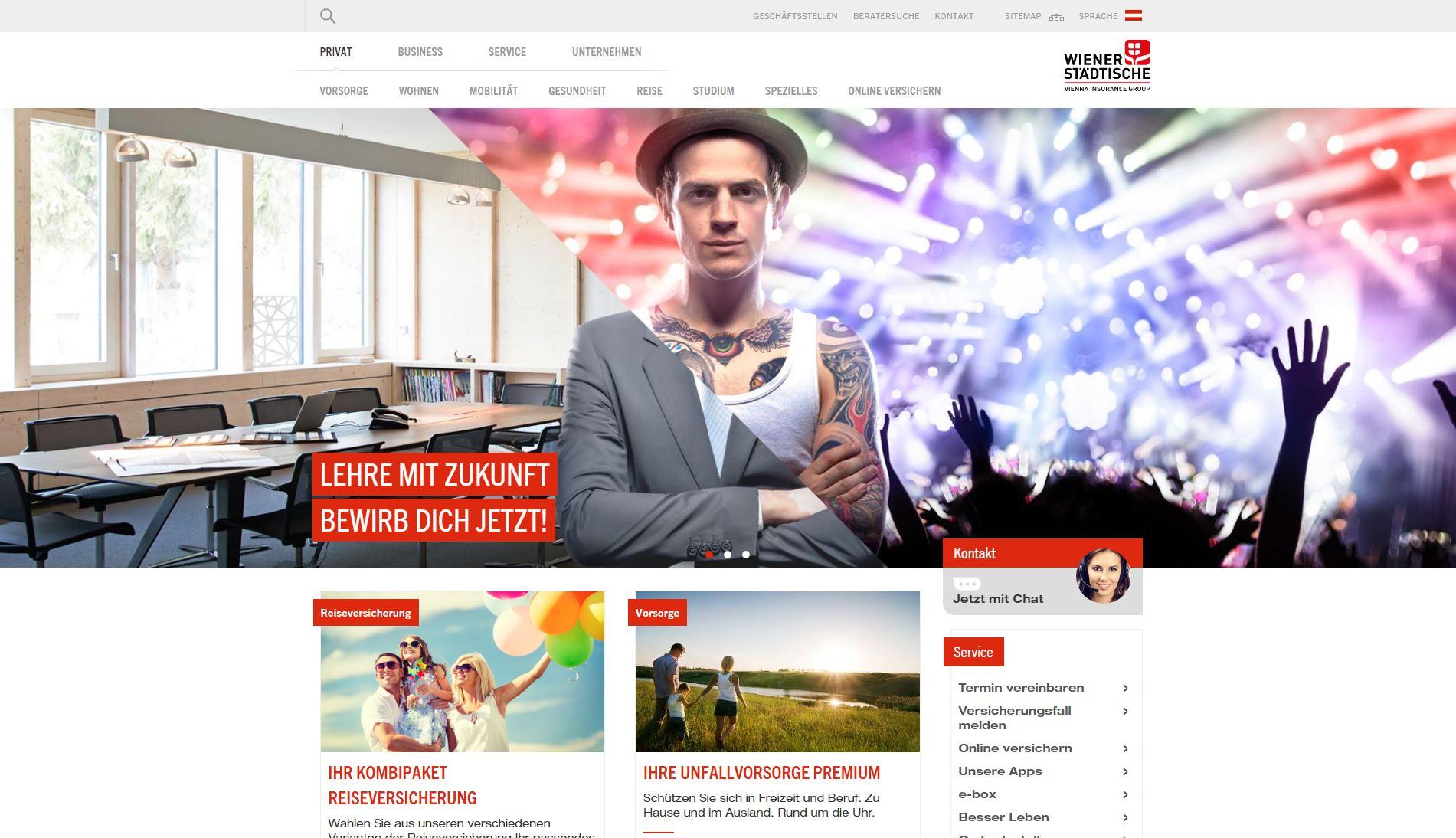 Screenshot der Website der Wiener Städtischen Versicherung